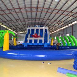 PVC Tarpauline Diapositive gonflables Géants Le parc aquatique avec piscine Combo