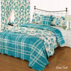 マイクロファイバーの寝具セットカーテン付きプリントのキルトのベッドスプレッドセット