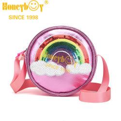 Material de costura de PVC arco-íris luminoso Shildren forma redonda do Saco de ombro