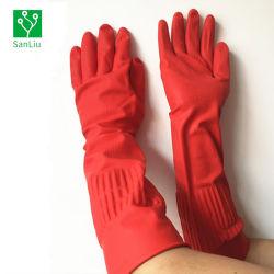 قفازات التنظيف اليدوية ذات أقفال مطاطية عالية الجودة من المطاط المنزلي Latex مع طوق طويل ذو نمط ملون