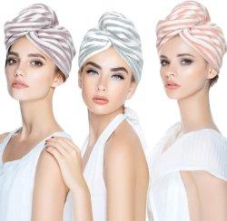 Toalha de cabelo de microfibras turbante de cintagem para mulheres, Super absorvente / Quick Dry Chuveiro Cabeça Seca Turbante com botões, secar o cabelo Hat, tampa de cabelo banho, Secagem Rápida