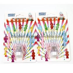 0-9 candela musicale infiammante di compleanno stabilito della candela di numero LED per il partito