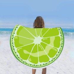 ファッションラウンドフルーツプリントビーチタオル(女性と少女用)、ウルトラソフト、サンドフリータオル( 59 インチの大型ラウンドビーチタオルブランケット)バス / プール / ビーチタイム用