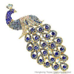DIY Brooch Handmade bleu paon multicolore de mariage Rhinestone broche pour la robe (BR-05)