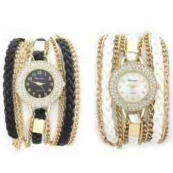 De dames vormen het Dubbele Horloge van de Band van het Metaal van de Steen van de Rij met de Vastgestelde Doos van de Gift van 4 Armband