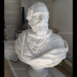 Tallada en mármol blanco Busto griego (GSBST-115)