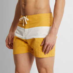 Le milieu de courte longueur de bloc de couleur nager Shorts