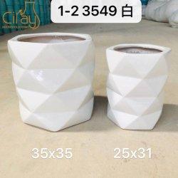 Design especial Multi-Faceted Polonês White Garden Plantadeiras de cerâmica (2PCS/set)