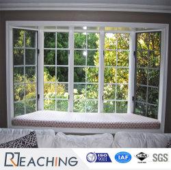Belle et généreuse de la fenêtre à battant de la grille en aluminium avec double vitrage PVC
