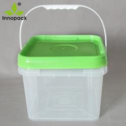 8L는 백색 손잡이 및 녹색 뚜껑을%s 가진 플라스틱 들통을 지운다