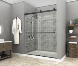 산업 작풍 매트 까만 미끄러지는 샤워 울안 10mm 쉬운 청결한 유리제 뒤집을 수 있는 두 배 미끄러지는 샤워 칸막이실 문