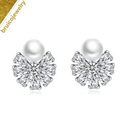 La moda joyas de plata 925 chapada en oro diamantes Joyas de la mujer Stud pendientes con Perlas