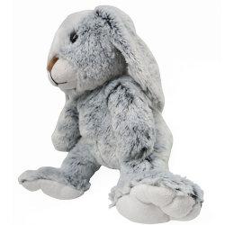 Gris doux avec de longues oreilles de lapin en peluche