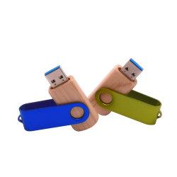 Rotable Clip을 포함한 목재 USB3.0 로고 펜드라이브 플래시 드라이브 사용자 지정 USB 128GB 64GB 32GB 16GB 사진 스틱