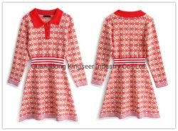 Form-Dame-Polo-Hemd-Muffen-Sport-Abnützung-strickendes Strickjacke-Streifen-Kleidung-Kleid-Kleid