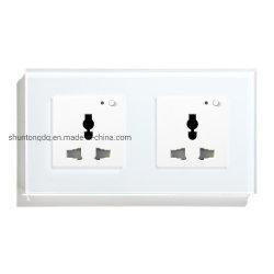 La toma multifunción WiFi toma de corriente de salida de Smart Panel de Cristal Blanco y Negro 13una toma de alimentación para la casa inteligente
