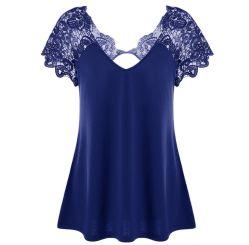 Lace Up Trim T-shirt soltas mulheres oco de manga curta Casual Tês Verão fora de moda feminina Superior T shirts