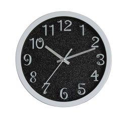"Ronda 8"" negro brillante plástico europeo 3 mano Quartz Reloj de pared"