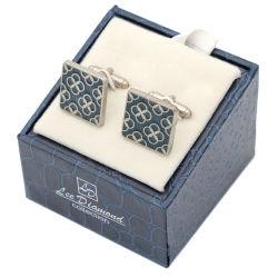 Novidade de prata a granel de moda personalizada de imitação de homens de réplica de luxo do esmalte branco valor definido Swank Cufflink para Oferta Promocional