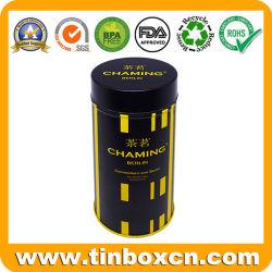 Vernis Mat personnalisé peut hermétique métallique rond étain de thé avec couvercle intérieur pour le café Boîte d'emballage alimentaire