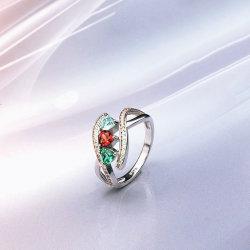 Schmucksache-Inner-Ring des Sterlingsilber-925 mit EdelsteinTopaz/Granat/Grün-Amethyst