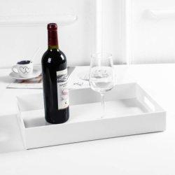 Weißes Luxuxflaschen-Service-Tellersegment-Acrylumhüllung-Tellersegment mit Griffen