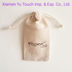 リネン宝石類の袋か麻布のドローストリング袋またはジュート袋