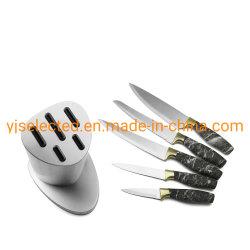 Couteau de cuisine 6 pièces ensemble avec poignée en plastique de marbrure