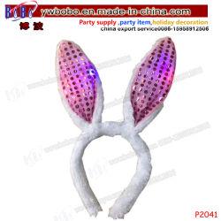 結婚祝いの誕生日プレゼントLEDはつけるプラシ天のウサギのヘッドバンドの毛の装飾(P2041)を