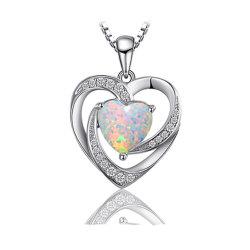 925 de echte Zilveren Juwelen van de Manier van de Halsband van de Tegenhanger van het Hart met Opaal voor de Levering voor doorverkoop van Vrouwen