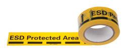Cintas de advertencia amarillo Logotipo ESD Tribocharging Cinta de embalaje secundario de los dispositivos de Sensive electroestática.