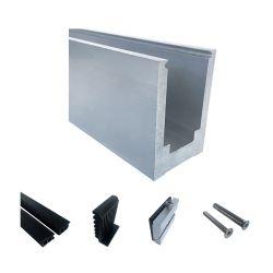 Vidro sem caixilho de alumínio balaustrada U corrimão de canal para a varanda e piscina Deck Plexiglas grades de proteção