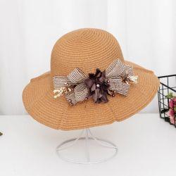 Señora Custom Color brillante papel barato Flor sombrero de paja