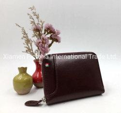 Borsa degli uomini del supporto di scheda dell'organizzatore del raccoglitore del cuoio genuino con la casella della moneta
