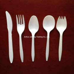 Biodegradierbares Tafelgeschirr-biodegradierbare Tischbesteck-Wegwerfprodukte Plastik-Winkel- des Leistungshebelslöffel-Gabel und Messer-Tischbesteck