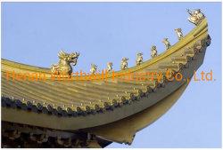 Los materiales de construcción antigua de aluminio recubierto de piedra de color teja de la India templo