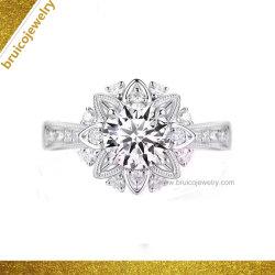 Ring van de Juwelen van het Huwelijk van Ring 925 van de Modellen van de Vrouwen van de Juwelen van het kostuum de Nieuwe In het groot Zilveren 18K Goud Geplateerde met Diamanten