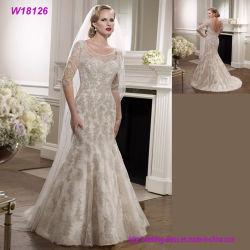 O melhor vestido de casamento nupcial de venda de V-Back do laço cinzento dos vestidos