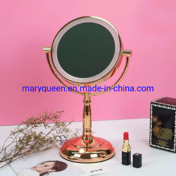 7 '' namen Gold dubbel-Sided Lighted 1X/3X of 5X of 10X of 12xmagifying LED Make-up Cosmetic Mirrors toe