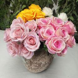 Preiswerte Blumen-künstlicher 10 Kopf-Rosen-Blumen-Blumenstrauß