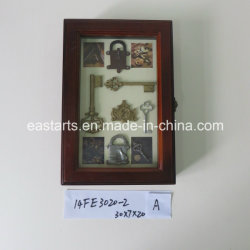 Clock를 가진 포도 수확 Home Decoration Wooden Frame Picture Key Box