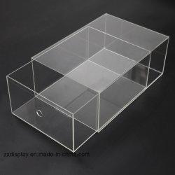 Retângulo personalizados em acrílico de Plástico Transparente na caixa de exibição da Sapata