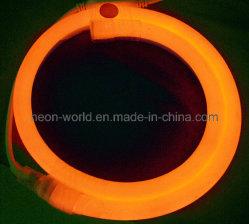 220V LED Neon Flex (80 LEDs/m, lechoso, chaqueta de color naranja).