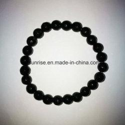 Natural Crystal Black Tourmaline con facetas pulsera encantadora con cuentas