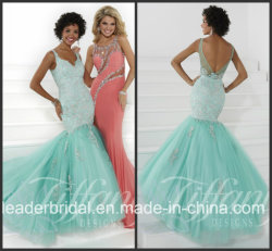 Mermaid Lace Tulle Party Prom Gown Vestidos Green Nession Dress P16072