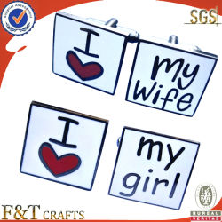 I Love My Wife/Girl Cufflink Custom Unique Soft Cloisonne Metal 커프 링크