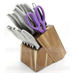 Нержавеющая сталь 15ПК кухня комплекта ножей с деревянным блоком (KSE123)