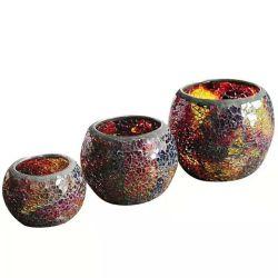 3本の円形のガラス蝋燭のセットはホーム装飾のためのガラス茶ライトをすくう
