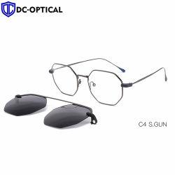 Сверхлегкий поляризованной закрепите солнечные очки Мужчины Женщины магнитных очки кадры для очков металлический оптический очки рамы