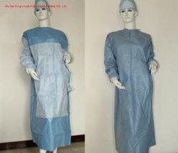 Bata cirúrgica SMS descartáveis com manguito de malha/hospital/sala de operação